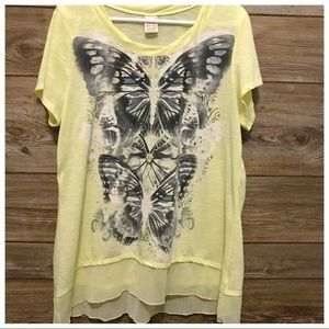 XXL Faded Glory Lt Yellow Butterfly shirt 🦋